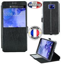 Etui Rabattable Simili Cuir Noir avec Ouverture Ecran pour HTC U Ultra