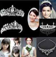 Bridal Princess Crystal Hair Tiara Wedding Crown Headband lady girl one hs
