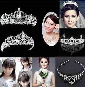 Bridal Princess Crystal Hair Tiara Wedding Crown Headband lady girl one hs