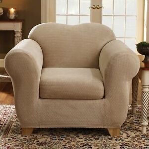NEW Sure fit Stretch Royal Diamond Two Piece Chair Slipcover washable Cream B