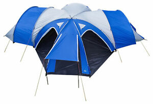 Andes 3 Bedroom + 1 Living Room 6-8 Man Family Camping Tent Tunnel 3000mm Blue