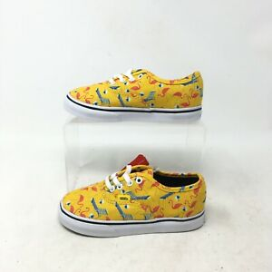 NEW Vans Flamingo Pool Vibes Casual Sneakers Low Top Canvas Yellow Toddler 9.5