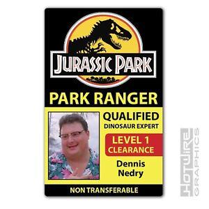 Plastic ID Card (TV & FILM Prop) - Dennis Nedry JURASSIC PARK Dinosaur Expert