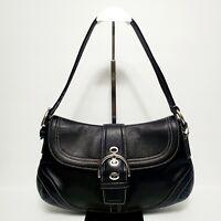 COACH Medium Black Leather Hobo Shoulder Hand Bag F10910
