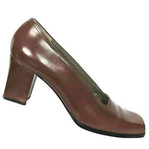 Yves Saint Laurent Womens Brown Leather Block Pump Shoes Size 8.5 N