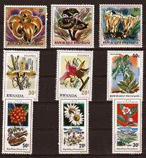 87T2 RWANDA 9 timbres neufs  Fleurs splendides