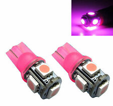 2 x Pink Purple LED T10 194 912 W5W 5-SMD Wedge Dome License Plate Light Bulbs