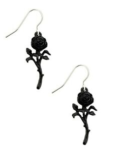 Alchemy Earrings The Romance of the Rose Black 1.5 x 4.7cm