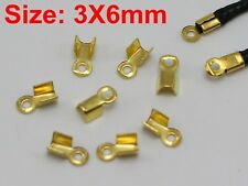 1000 Golden Plated Necklace Cord Crimp End Caps With Loop 3X6mm