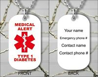 MEDICAL ALERT DIABETES #1 EMERGENCY PERSONALIZED DOG TAG PENDANT NECKLACE - tf5g
