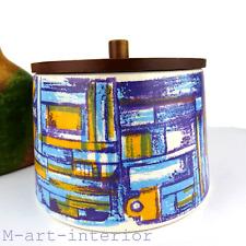 SCHRAMBERG Majolika Dose Keksdose, 60er Modernist Tin Bowl w. Lid,Germany 1960s