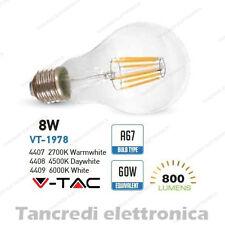 Lampadina led V-TAC 8W = 60W E27 VT-1978 A67 filamento lampada globo bulbo sfera