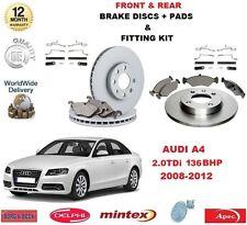 para AUDI A4 2.0 TDI 136BHP 2008-12 delante + discos de freno Trasero Pastillas+