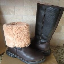 UGG Brooks Water-resistant Brown Leather Shearling Tall Boots Size US 5 Womens