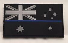Thin Blue Line Rubber / PVC Patch, Australian, Flag, Hook, Black, Police, TBL