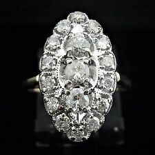 Vintage Diamonds & 14k White Gold Ring Naivette Shape Mid Century Estate Jewelry