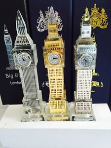3 X London Big Ben Clock Gold Plated Silver Plated & Plain Crystal With Lights
