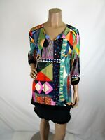 Joseph Ribkoff Multi Color Tunic Size 12 Bead Tassel Tie Roll Tab Sleeve182655