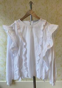 *BNWOT* ZARA crisp white cotton double ruffle blouse L 12 puff sleeve