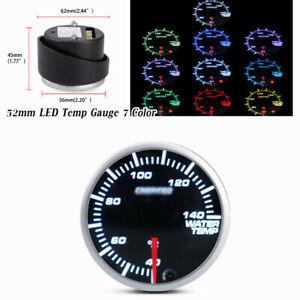 52mm LED display 7 Color Water Gauge Coolant Temperature Temp Gauge Meter Black