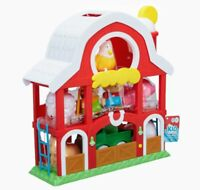 New Big Red Barn Animal Farm 19pc Play Set Tractor Farmer Pig Cow Rooster & Lots
