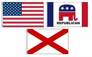 3x5 American & Republican & State of Alabama Wholesale Set Flag 3'x5'