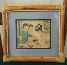 China Paiting of Spring Palace Pictures with Rattan, Bamboo, Glass Frame  画