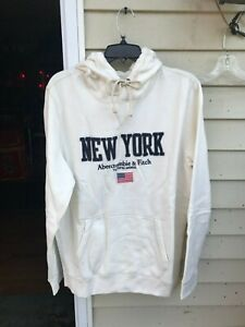 $68  abercrombie fitch off white logo hoodie mens size L