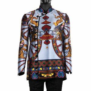 DOLCE & GABBANA Sicily Carretto Chinese Dragon Silk Blazer Jacket Blue 07583