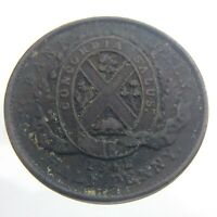 1842 Die Crack Half Penny Province Canada Bank Montreal Circulated Token T417