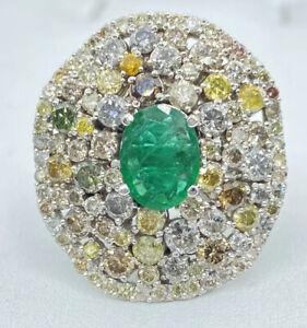 5.20 ct NATURAL fancy DIAMOND & columbian EMERALD halo ring 14k white gold VIDEO