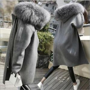 Women Large Fur Collar Wool Coat Loose Fit Overcoat Hooded Thicken Warm Parka Sz