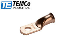"""4 AWG 1/4"""" Hole Ring Terminal Lug Bare Copper Uninsulated Gauge"""