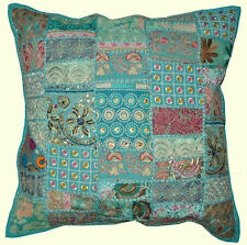 On Sale 24x24 Indian Patchwork Pillow Cover Blue Bohemian Pillow Floor Cushions