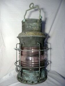 Antique Large Russell & Stoll Copper Ships Light, Fresnel Lens, 2 Ft. Tall