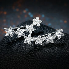 Sterling Silver Ear Crawler Climber Earrings made with Swarovski Crystals ITALY