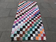 Old Hand Made Moroccan Boucherouite Cotton Fabric Colourful Rug 214x104cm