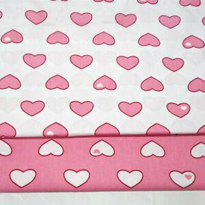 50x160cm Cotton Twill Fabric DIY Material Print Love Heart Pink White Base MK0 B