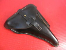 WWII German Black Leather Hardshell Police Holster - Luger P08 Pistol - Repro #2