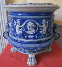 grés bleu Alsace Raeren grand cache pot barbotine 19 eme