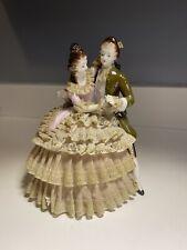Antique Victorian Camille Naudot Music Box Porcelain Blue Danube Waltz