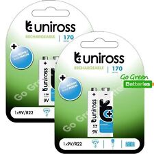 2 x Uniross 9V Block PP3 Rechargeable Battery 170 mAh
