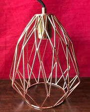 Copper Metal Pendant Lamp Geometric Teardrop Shape Industrial Cage Ceiling Light