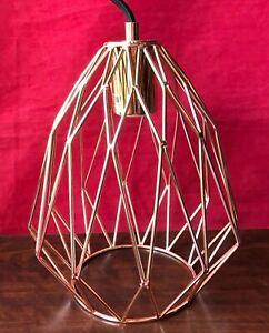 Copper Metal Pendant Lamp Geometric Teardrop Shape Industrial Cage Ceiling Light