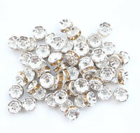 100 8mm Gold White Plated CZ Crystal Rhinestone Spacer Loose Beads Findings H007