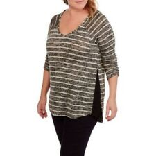 French Laundry Women's Plus Vneck Marled Ribbed Tunic With Side Seam Lace 3X