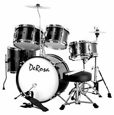 "Black 5 PC 16"" ROCK Starter Drum Set Great Gift 4 KIDS Learn How to PLAY BAND"