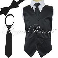 New Kid's Brand Boy's Tuxedo Vest Zipper Neck Tie & Bowtie 3 in 1 Set Black