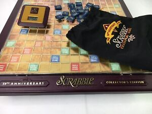 1998 Scrabble 50th Anniversary Edition Board Game All letters but no trays Timer