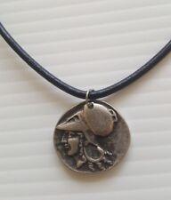 Helmeted Goddess Athena Greek Empire Fantasy Coin Pendant Handmade Necklace